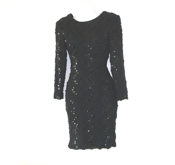 Size 2 - Size 4 - Size 6 - Wiggle - Black - Petite -Sexy - Sequins - Plunge Back - Llong Sleeves - LBD - Dress - Voluptuous - Vixen - Party