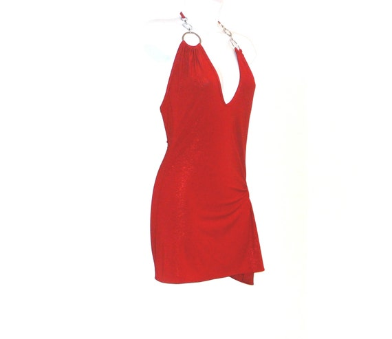 halter, one size, tunic, dress, red, shimmer, spandex, stretch, burlesque, clubgirl, silver rings, scarlet, vixen, Hollywood, starlet