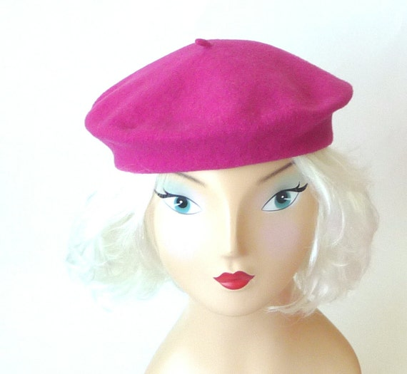 beret, raspberry, rose, wool, French, Paris, girly, feminine, classic, high fashion, gift, Valentines, Prince, color pop