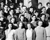 Vintage School Photo Black & White Snapshot Collectible Old Antique Portrait Photograph of Girls and Boys with Teacher.