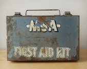 Vintage 1940s Industrial Slate Blue Metal First Aid Kit from Mine Safety Appliances.