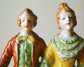 Vintage Figurine of 18th Century Costumed Couple in Orange Red and Green Handpainted from Occupied MidCentury Japan.