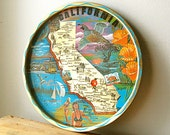 Vintage Round California 1970s Souvenir Tray with Shiny Gold and Aqua Blue by Ken Haag.