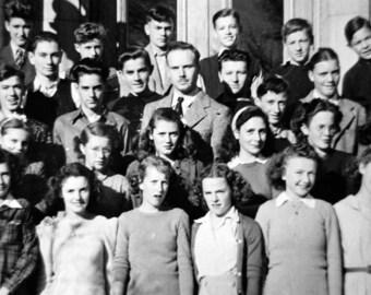 Vintage School Children Portrait Photo Black & White Photograph of Teen Girls and Boys with Teacher.