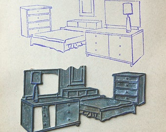 Vintage Metal Printing Plate of Midcentury Bedroom Set Furniture Home Decor Stamp Supplies.