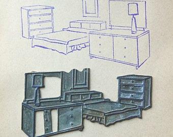 Vintage Metal Printing Plate of Midcentury Bedroom Set Furniture Home Decor Stamp Supplies.