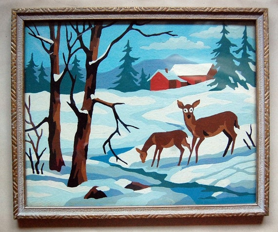 Deer in Snow Scenes Snow Scene With Deer