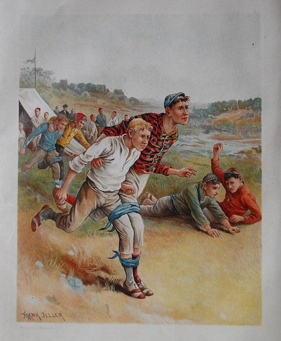 Antique Color Print of Illustration of School Boys Playing in an Outdoor 3 Legged Race from Early 1900s.