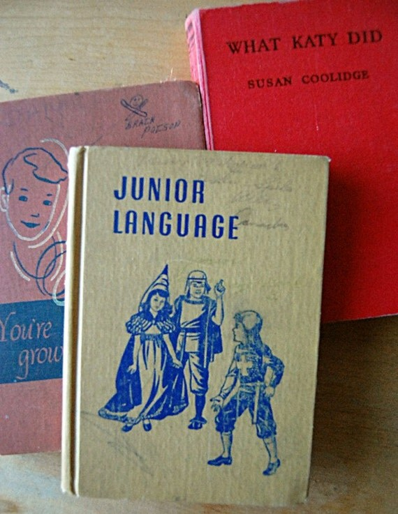 Vintage Childrens Books Instant Collection Three School Illustrated Hardcover Primer Health and Reader.