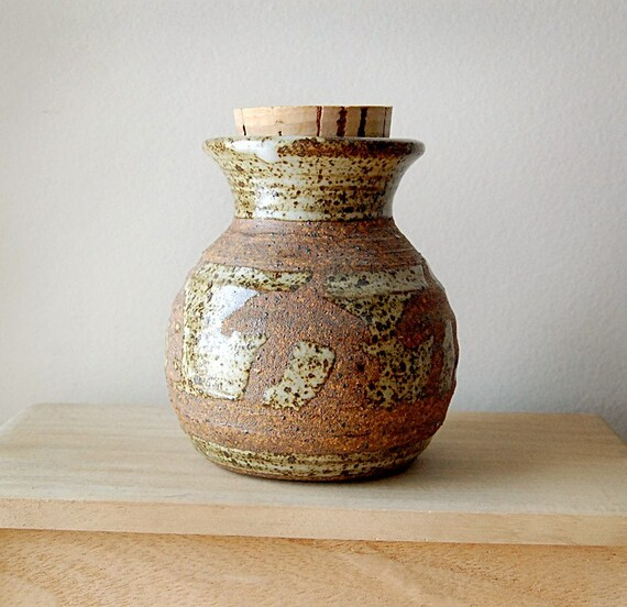 Handmade Stoneware Ceramic Down to Earth Brown Storage or Spice Jar with Cork Stopper.