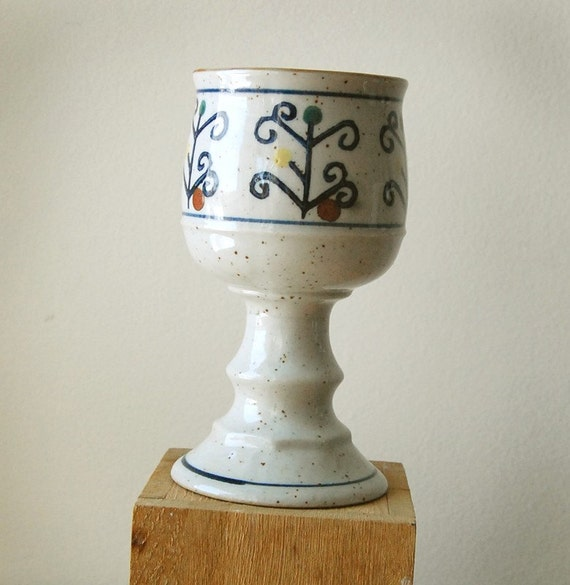Handmade Organic Ceramic Chalice Wine Goblet with Blue Floral Pattern.