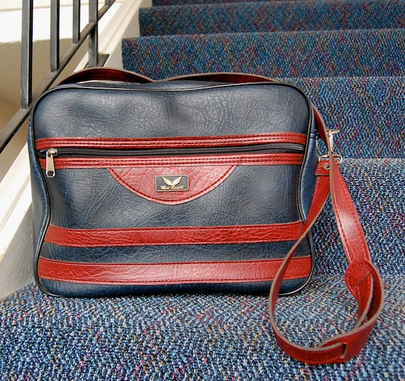 Vintage Navy Blue with Deep Rust Red and Stripes Mat Roselli Retro Carry-On Travel Bag with Strap in Faux Leather.