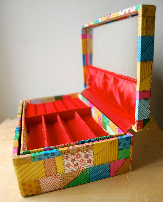 Vintage Early 1970s Patchwork Design Red Velvet Interior Jewelry Box for Storage.