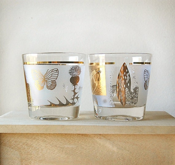 Vintage Pair of MidCentury Lowball Glasses with Gold and Frosted Butterfly and Leaf Design.