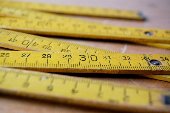 Vintage Yellow Wood Folding Carpenter Ruler 1 Meter 39 Inches for Measurement Work.