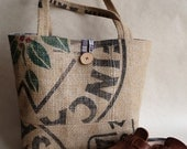 Upcycled tote. Grocery bag. Everyday bag. Book bag. Burlap. Red blue plaid.