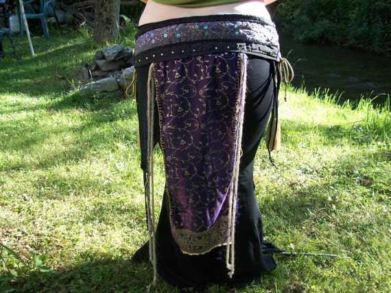 tribal belly dance belt, deep purple and light gold,ATS fusion,reserved for jakiigirl