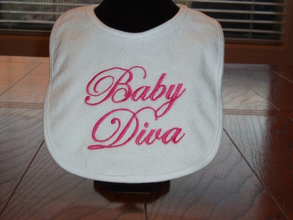 Embroidered baby bib with saying- Baby Diva- in pink, customizable