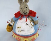 Rowena Rabbit pincushion - toy bunny knitting pattern -Pdf INSTANT DOWNLOAD