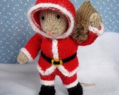 Santa Mouse knitting pattern - INSTANT DOWNLOAD