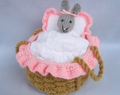 Baby Bunny in crib - knitting pattern - INSTANT DOWNLOAD rabbit doll toy