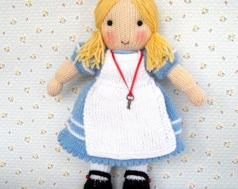 Alice in Wonderland doll knitting pattern - INSTANT DOWNLOAD