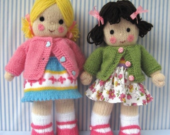 Polly and Kate doll knitting pattern - INSTANT DOWNLOAD
