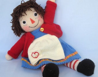 Merrily Ann - Raggedy Ann doll knitting pattern - INSTANT DOWNLOAD