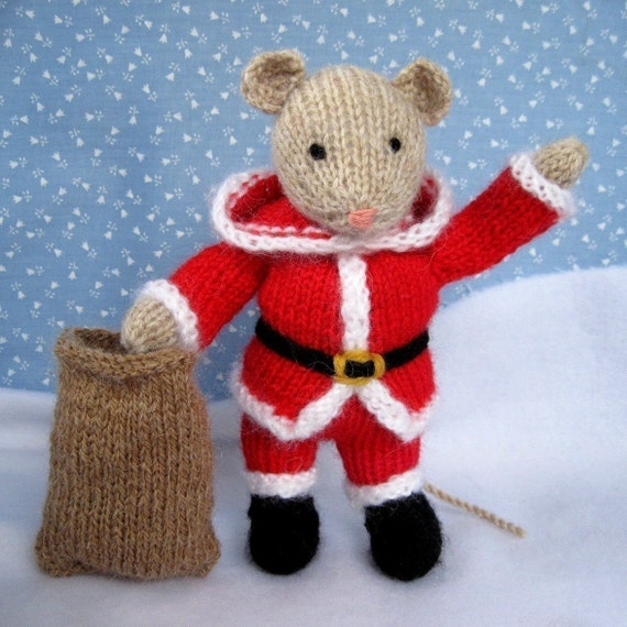 Knitting Patterns Christmas Toys : Santa Mouse knitted toy doll or festive ornament INSTANT