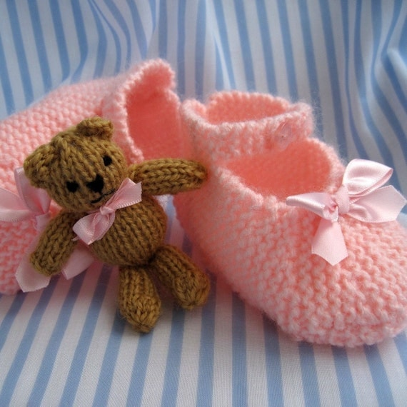 Mary Jane shoes bootees and tiny teddy - INSTANT DOWNLOAD - PDF email knitting pattern - ePattern