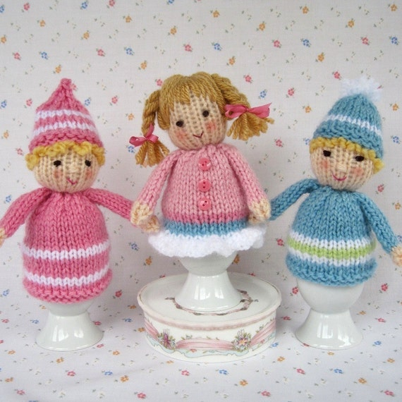 Knitted Egg Cosy Dolls INSTANT DOWNLOAD PDF email knitting