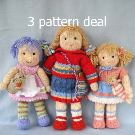 Lucy Lavender, Tilly and Lulu - 3 pattern deal - knitted toy dolls - PDF email knitting pattern