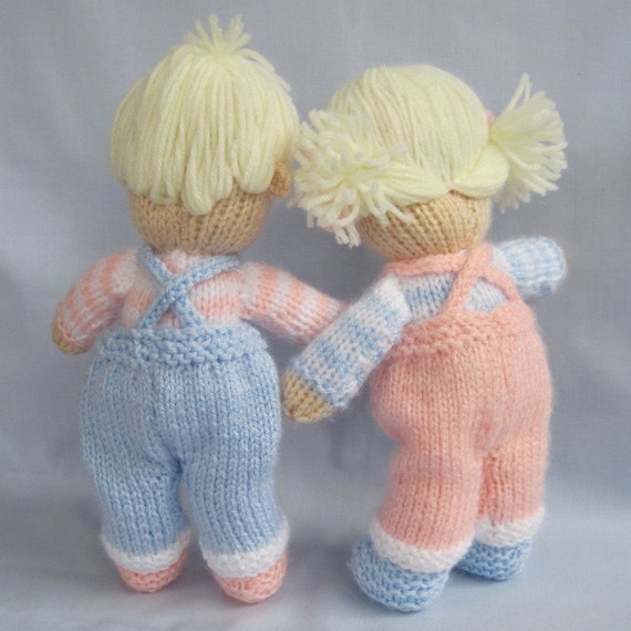 Jack and Jill doll knitting pattern - Pdf INSTANT DOWNLOAD - knitted dolls fr...