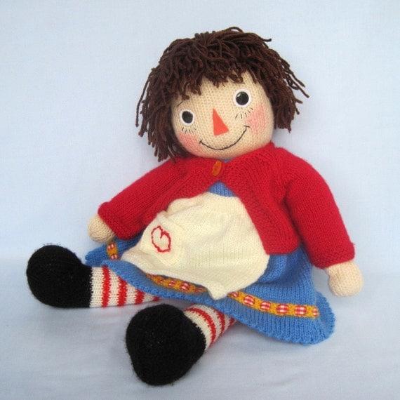 Knitted doll pattern - MERRILY ANN (Raggedy Ann style) - email PDF - ePattern