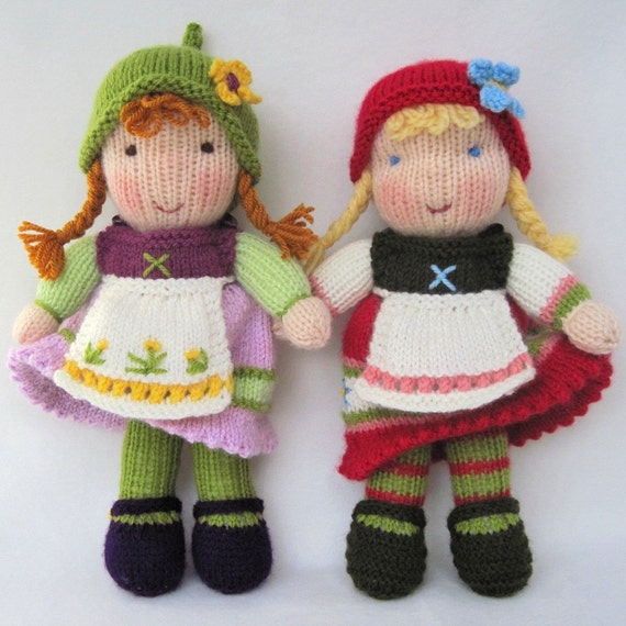 Knitting Patterns For Waldorf Dolls : Fern and Flora doll knitting pattern Waldorf by dollytime ...