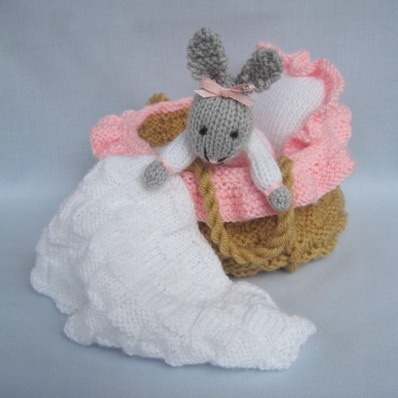 Baby Bunny in basket crib knitting pattern INSTANT by ...