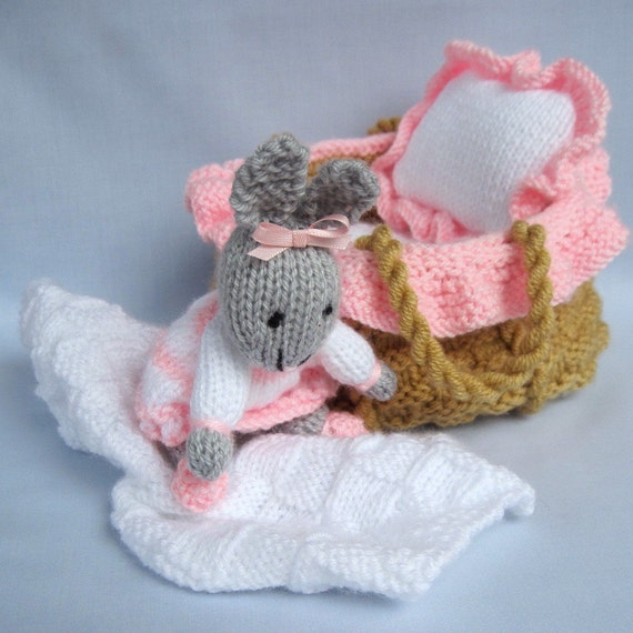 Baby Bunny in basket crib - knitting pattern - INSTANT DOWNLOAD rabbit doll t...
