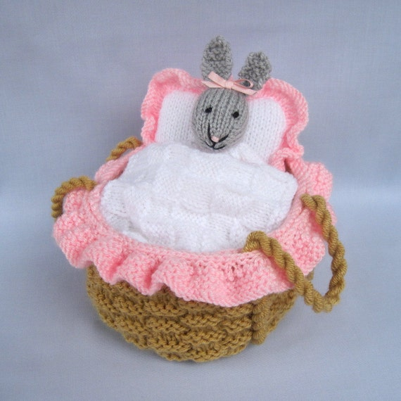 Baby Bunny in crib knitting pattern INSTANT by dollytime on Etsy