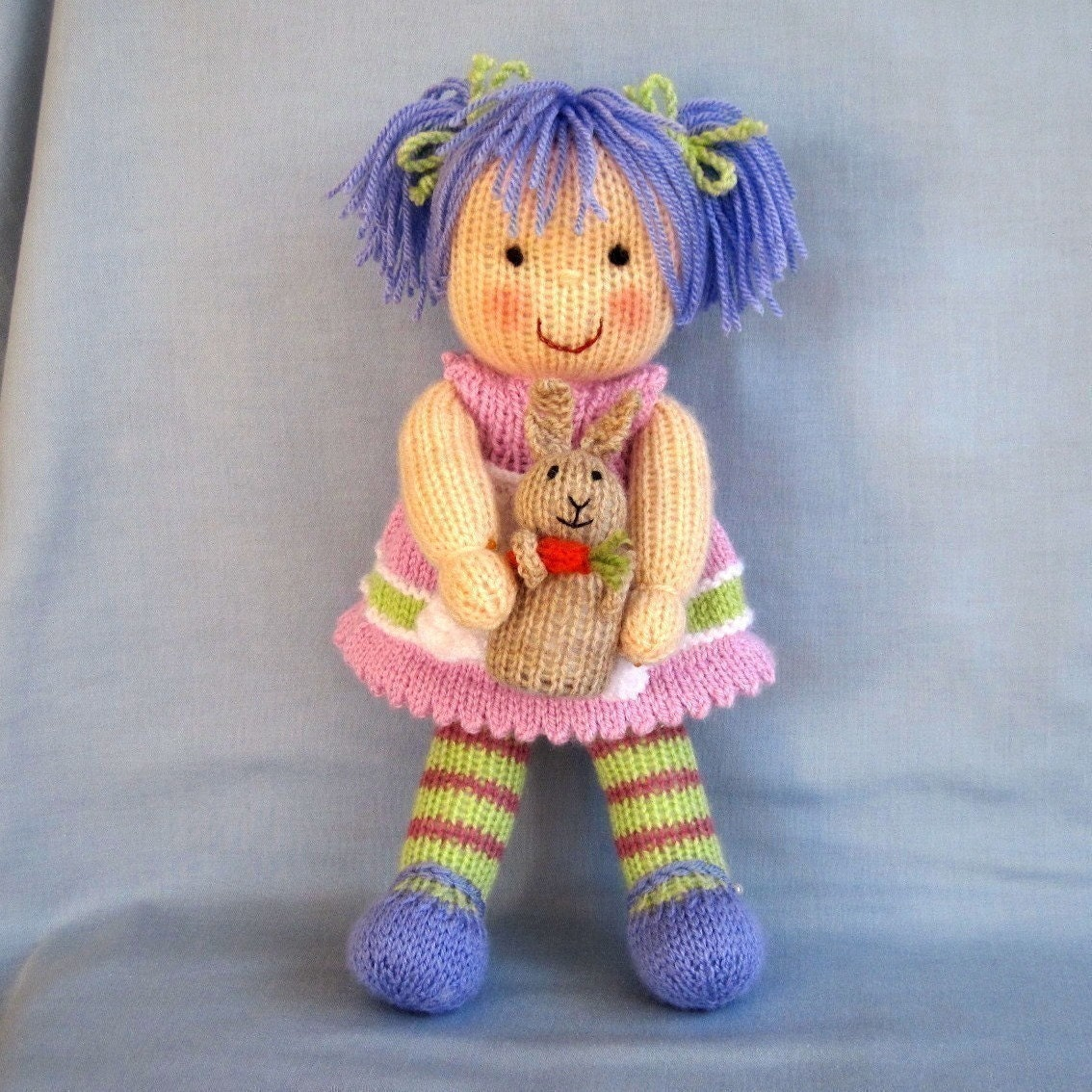 Free Patterns For Knitted Dolls : LUCY LAVENDER and her RABBIT knitted toy doll Pdf email