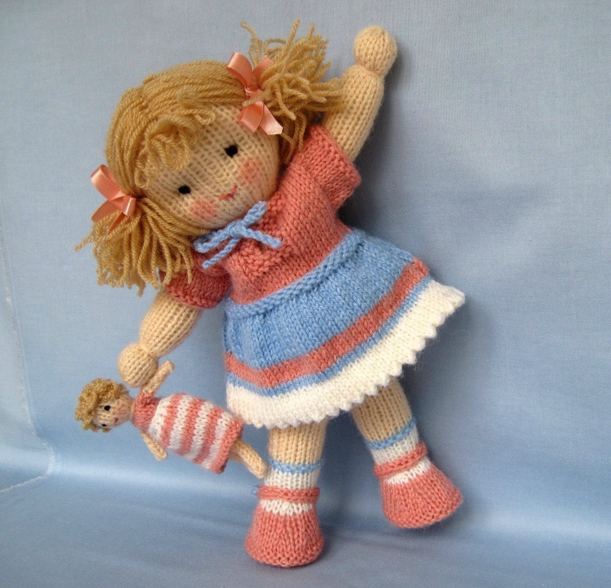Free Knitted Doll Pattern : Lulu and little doll knitting pattern INSTANT DOWNLOAD