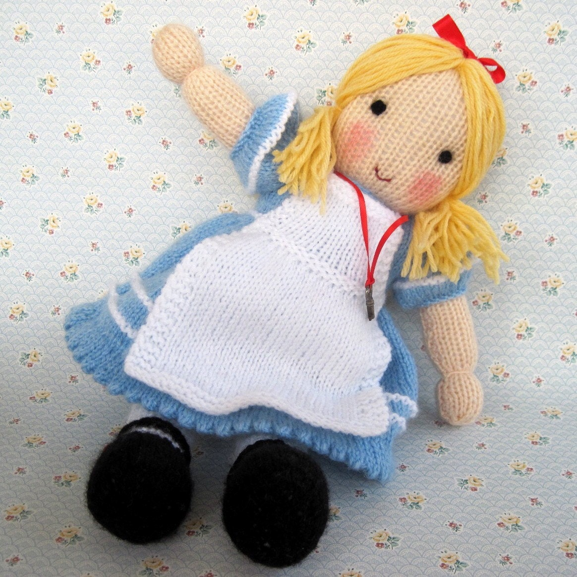 ALICE in Wonderland knitted toy doll PDF email knitting