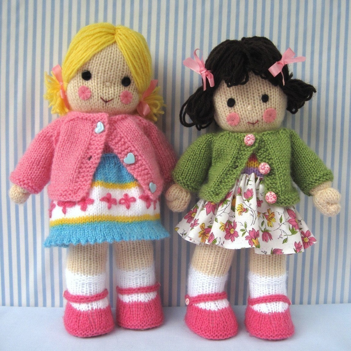 Free Knitted Doll Pattern : POLLY and KATE knitted toy dolls PDF email knitting