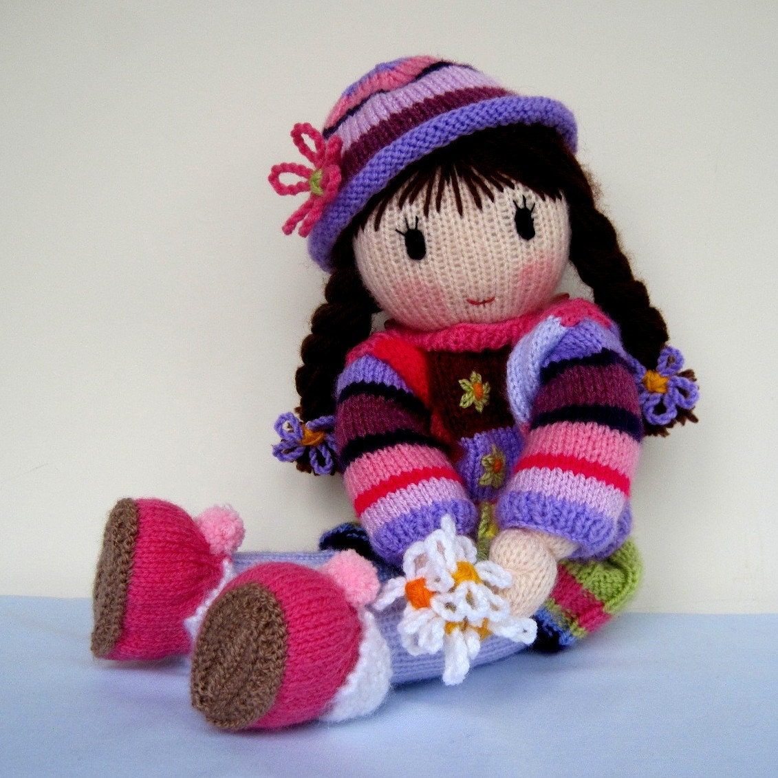 Knitting Patterns For Toys On Etsy : Posy Doll knitting pattern knitted doll Pdf INSTANT by dollytime