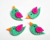 DETAILED 4 x Handmade Felt Tweety Birds (mint,hot pink,orange) with FREE interface backing