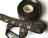10 Meters Of Chocolate Brown Floral Trim White and Blue Flowers