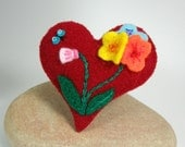 Flower Heart Felt Brooch Pin