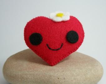 Anime Style Heart Felt Brooch Pin
