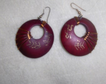 Dark Red Wooden Earrings wrapped with Copper Wire accented with gold prints