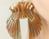 Angel's Wings - brass vintage wing earrings on 14 kt GF handmade french wires