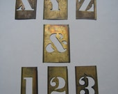 Brass Letter and Number Stencils Vintage